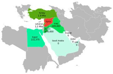 **Syrian Civil War refugees in neighboring countries (as of 4 September 2015) | Author: Furfur | Wikimedia Commons