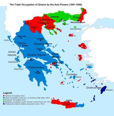 **The three occupation zones. Blue indicates the Italian, red the German and green the territory annexed by Bulgaria. The Italian zone was taken over by the Germans in September 1943. | Map of the 1941-1944 Axis Occupation of Greece. Depicted are the three occupation zones, plus the geographic regions and major urban centers. | Author: Cplakidas | Creative Commons Attribution-Share Alike 3.0 Unported license. | Wikimeia Commons