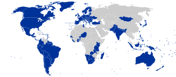 "**World map showing the countries considered ""electoral democracies"" (in blue), according to American organization Freedom House. Reference from the ""Freedom in The World"" report. 
