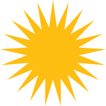 **The yellow sun with twenty-one rays represents Mithra, the Sun as symbol of God, in Yazdani faiths. | The blazing golden sun emblem