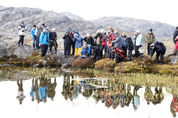 *Tourists studying life in a water pool on Bear Islands, Ofjord, Northeast Greenland National Park. Photo: UNEP GRID Arendal/Peter Prokosch