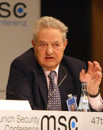 **Photo: 47th Munich Security Conference 2011: George Soros, Chairman of the Soros Fund Management, during the Discussion | Author: Harald Dettenborn Link back to Creator infobox template| Creative Commons Attribution 3.0 Germany license | Wikimedia Commons
