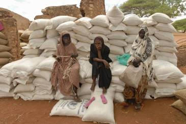 Women sitting on sacks of rice and maize in Wajir, Kenya. | FAO