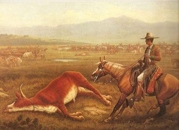 **Painting of a Vaquero in action roping cattle during 1830s Spanish California.| Source: The Old West-