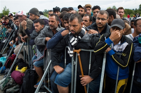 ****Photo: Andrei Pungovschi/IRIN Migrants and refugees at Croatia's border with Slovenia wait for a bus to take them into Slovenia