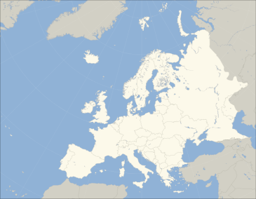 **Image: A blank map of Europe. The continental boundary to Asia indicated follows the standard convention of the crest of the Greater Caucasus, the Urals River and the Urals Mountains to the Sea of Kara. | Author: Blank_map_of_Europe_(polar_stereographic_projection)_cropped.svg: Ssolbergj | Wikimedia Commons