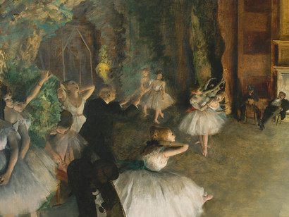 Edgar-Degas-The-Rehearsal-Oil-Watercolour-and-pastel-on-board-1874