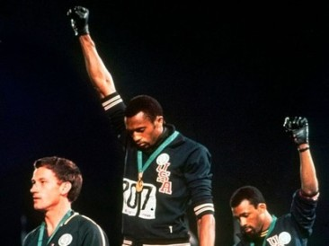 Tommie-Smith-and-John-Carlos-raised-their-fists-during-the-1968-Olympics