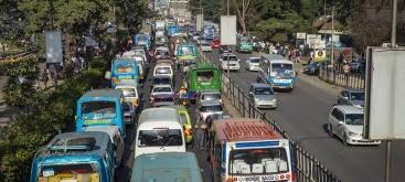 Rush hour traffic in Nairobi CBD, Kenya